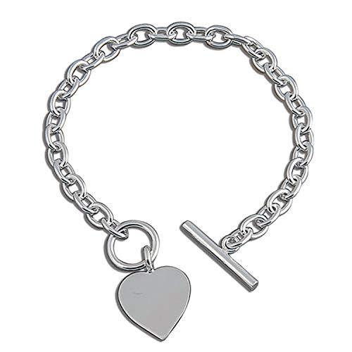 Ciondolo a forma di cuore in argento Sterling bracciale–Chunky bracciale in argento con cuore tag–19,7cm pollici/20cm–designer Inspired