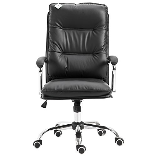 HomCom High Back PU Leather Executive Home Office Chair with Lumbar Support - Black