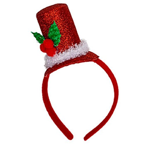 Christmas House Mens Glittery Santa Top Hat Headband with Holly - One Size - 1/pkg. Red