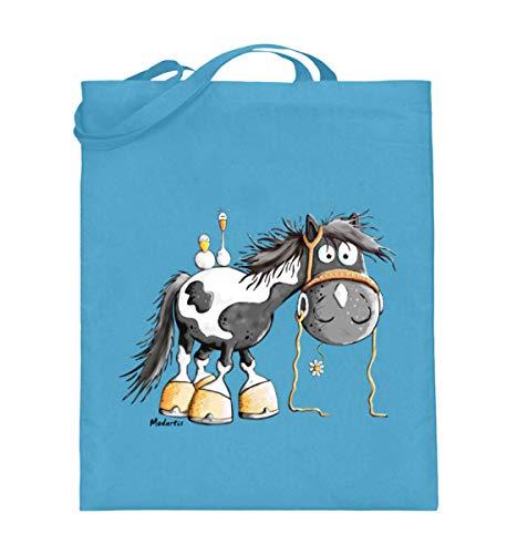 Happy Pinto Pferd Comic I Schecke Tinker I Modartis Pferde I Pony I Reiter Geschenk - Jutebeutel (mit langen Henkeln) -38cm-42cm-Hellblau