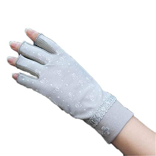Sun Protection Gloves Semi-Finger Women Anti-UV Half Fingers Driving Thin Sunscreen Female Mittens Rose Grey
