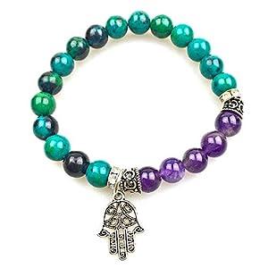 Inner Peace Yoga Bracelet Chrysocolla Phoenix & Amethyst Hamsa Charm Bracelet