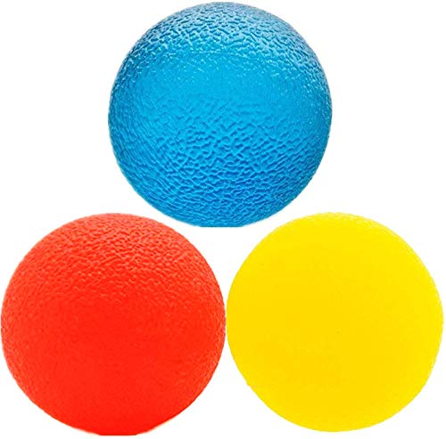 3 Resistance Levels Stress Relief Ball Multiple Resistance Therapy Exercise Gel Squeeze Balls Kits for Hand Finger Wrist Muscles Arthritis Grip Exerciser Strengthening 3pcs