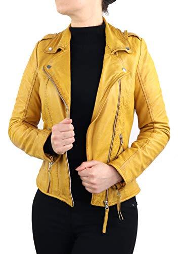 Lederjacke Elli Damen Biker Jacke Slim Fit aus weichem Lamm Leder (Glattleder) Schwarz Cognac Braun Gelb Blau Beige