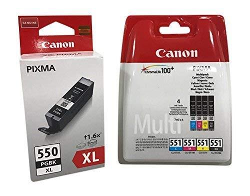 Original Druckerpatronen für Canon PIXMA iP7250/ 8750, iX6850, MG 5450/ 5550/ 5650/ 6350/ 6450/ 6650/ 7150/ 7550, MX725/ 925 (black XL + (4er))