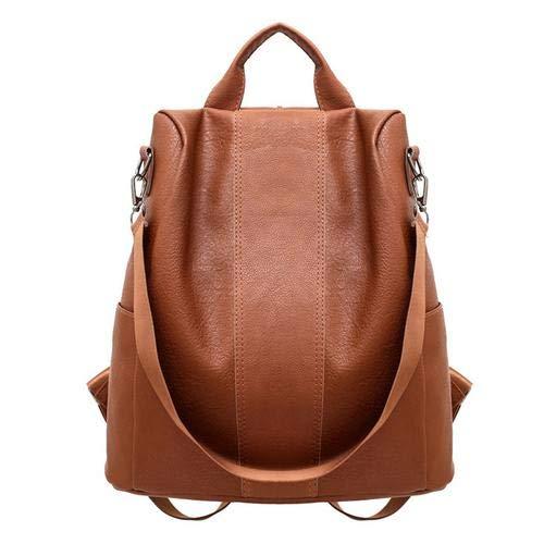 Ganmaov Diebstahlsicherer Frauenrucksack, weiche wasserdichte Rucksack-Damen-Umhängetasche aus synthetischem Leder, einfarbiger Beutel-modischer Frauen-Tote