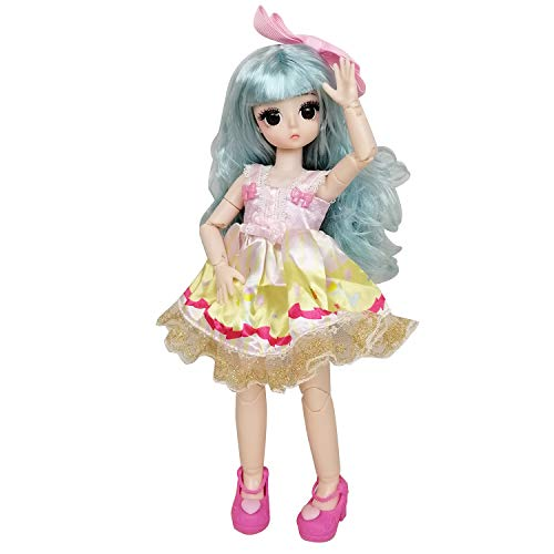 EVA BJD 1/6 28cm 12' Jointed Plastic Dolls Girl with Wig Shoes Dress Clothes Girl's Gift Toy DIY Model (Blue)