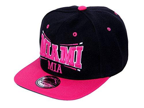 Alsino Snapback Basecap Starter Cap - Miami (Mia-35) - Farbe: Pink & Schwarz - Größenverstellbar