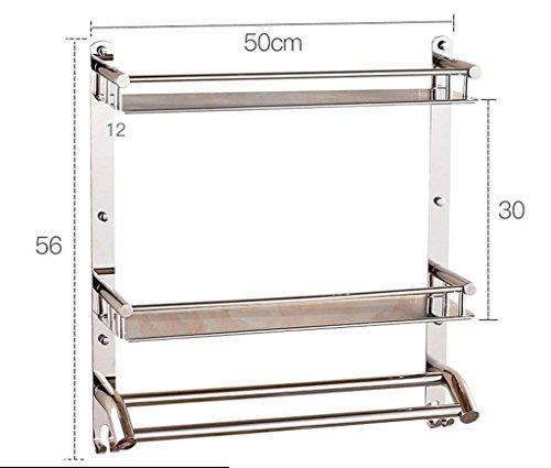 M-J 304 RVS Badkamer Rekken Dubbele Badkamer Opslag Rack Opknoping Badkamer Stijlvolle Eenvoud Handdoek Rack Opslag Rack (Kleur: B, Maat: 50Cm), b, 50cm