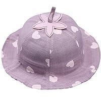 春のモデル子供用帽子コットンシンプルな子供用ハートプリントバケットハット6〜12か月に適していますベビーラベンダー、45〜47Cm