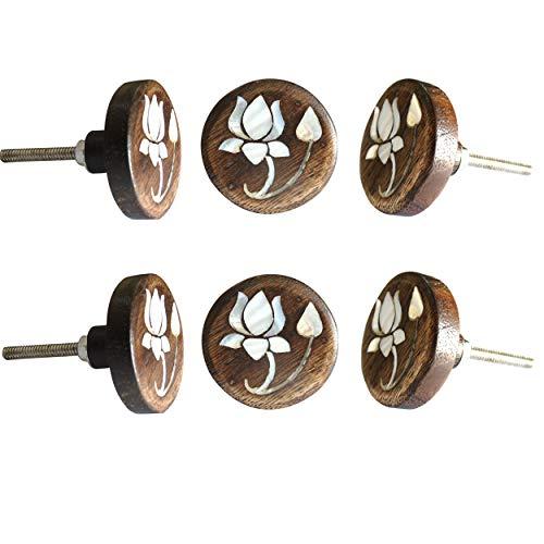 Perilla Home - Juego de 6 pomos de madera con diseño de flor de loto para cajones, cajones, cajones, cajones, armarios, dormitorios, cuartos de baño, cocina, aparador, aparador de Perilla Home