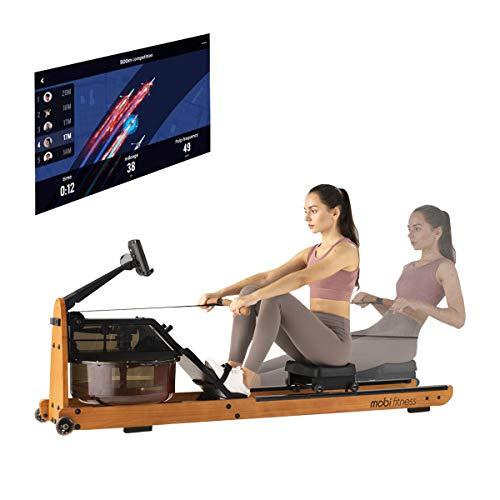 Mobi Fitness Máquina de remo de agua real, réplica de almacenamiento Upright Storage Design no afecta a la articulación de la rodilla, True Workout ergonómico.