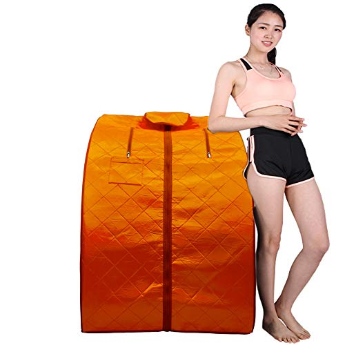 ZONEMEL Portable Far Infrared One Person Sauna, Upgraded Chair, Home Spa Detox Therapy, Heated Floor Pad (Bright Orange)