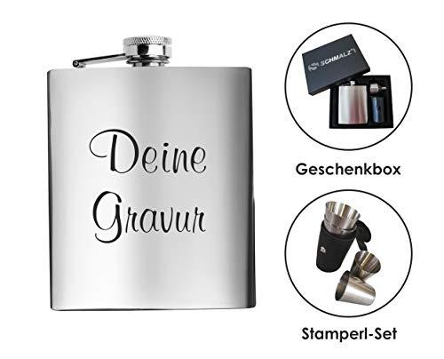 Schmalz® Flachmann-Set 7-teilig aus Edelstahl inklusive Gravur Geschenkverpackung Stamperl Etui Schnapsbecher Einfülltrichter Lasergravur