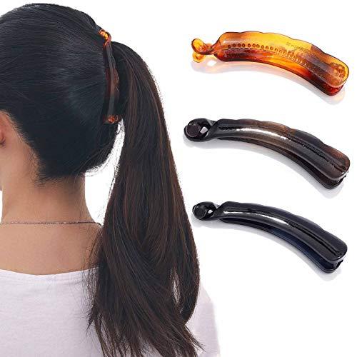 Runmi Bananen-Haarspangen, schwarz, Schildpatt-Haarspange, Haar-Accessoires für Frauen und Mädchen (3 Stück)