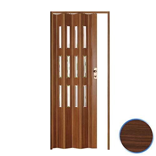 Forte Puerta Plegable de Interior de PVC 88,5x214 cm Nuez Claro - Vidrio Transparente Mod.Luciana