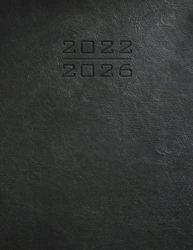Planificador mensual de cinco años 2022 – 2026 – Aspecto minimalista de cuero negro: calendario con fecha y organizador I domingo comienzo I año de un ... I Agenda y...