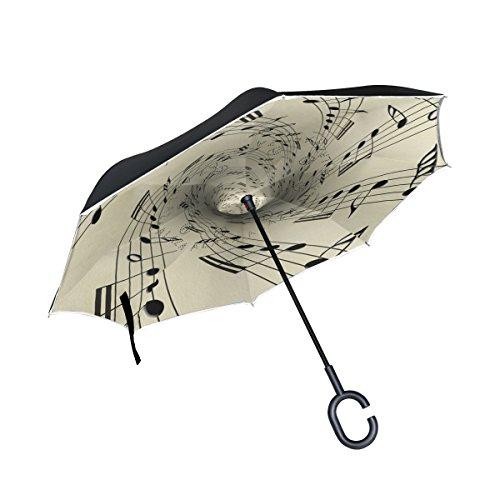 XiangHeFu Doppelschichtiger, umgekehrter Regenschirm, Musiknoten auf altes Papier, faltbar, winddicht, UV-Schutz, groß, gerade für Auto mit C-förmigem Griff