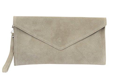 AMBRA Moda Damen Wildleder Envelope Clutch Handschlaufe Handtasche Schultertasche Unterarmtasche Damentasche Veloursleder WL801 (Dunkelbeige)