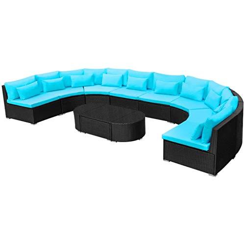 vidaXL Gartenmöbel 11-TLG. mit Auflagen Sitzgruppe Lounge Rattanmöbel Sitzgarnitur Sofa Gartensofa Sofagarnitur Gartenset Poly Rattan Blau