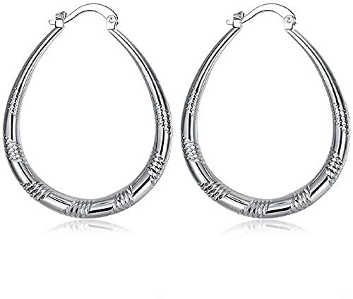 VIQNJ Orecchini da donna a forma di S, in metallo color argento, ovali a cerchio, da donna, a strisce, orecchini alla moda