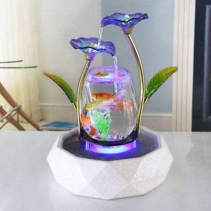 Weichuang Fish Tank Tabletop Wasser-Eigenschaft Lotus-Brunnen Wasserfall Cascade Indoor Dekoration Aquarium Zen Luftbefeuchter Meditation LED-Licht Aquarium Aquarium