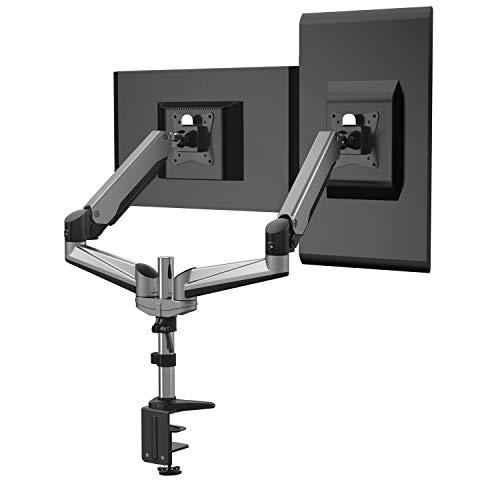 HFTEK - HF24GA - Monitor Halter Tischhalterung für 2 Bildschirme von 15 bis 34 Zoll mit VESA 75/100 - vollbeweglich + höhenverstellbar