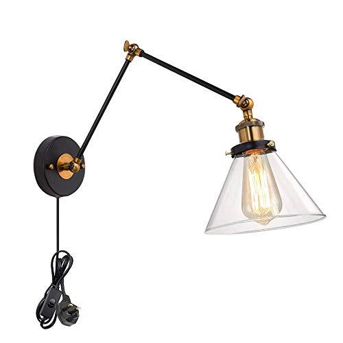 SCJ Lámpara de Pared Industrial Vintage con Cable de Enchufe y Interruptor de Encendido/Apagado, iluminación de Aplique de Pared con Brazo oscilante Ajustable, lámpara de Noche de latón Retro