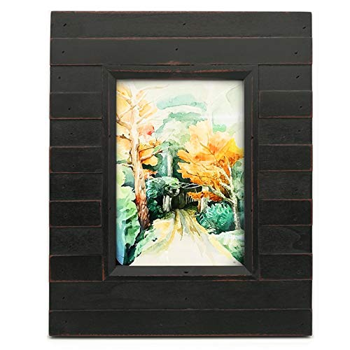 Eosglac 5x7 Picture Frame Distressed Black, Timbermount Rustic Photo Frame with Wood Siding Look, Tabletop or Wall Display