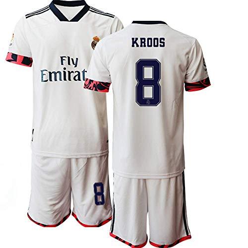 JEEG 20/21 Kinder KROOS 8# Fußball Trikot Jugend Trainings Anzug T-Shirt Set (Kinder Größe 4-13 Jahre) (20)