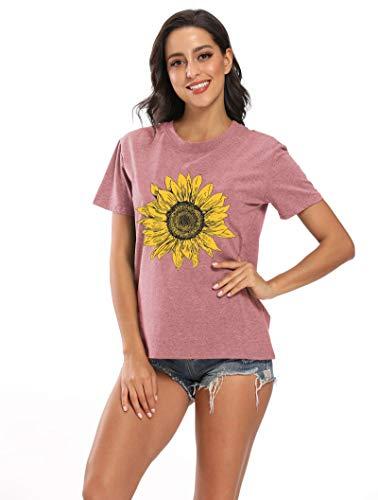 Sunflower T-Shirt Women Flower Graphic Tee Teen Girls Inspirational Tees Short Sleeve Casual Tshirt Faith Shirt Tops Pink