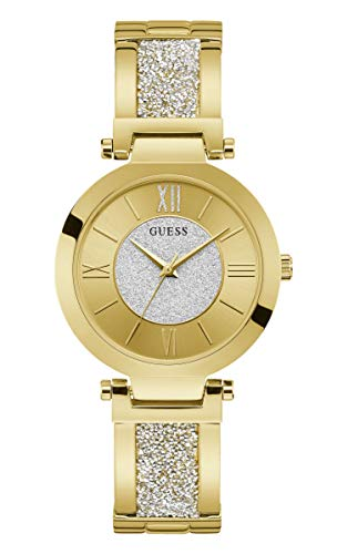 Guess Damen Analog Quarz Uhr mit Edelstahl Armband W1288L2