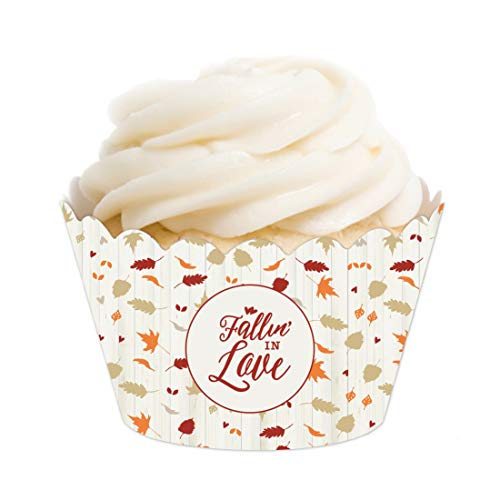 Andaz Press Fallin' in Love Autumn Fall Leaves Wedding Party Collection, Cupcake Wrappers, 20-Pack