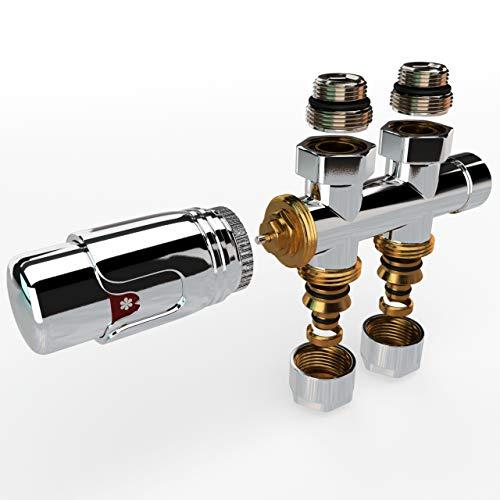 Mittelanschluss-Set Multiblock Hahnblock Durchgangsform inkl. Thermostatregler für Badheizkörper Chrom