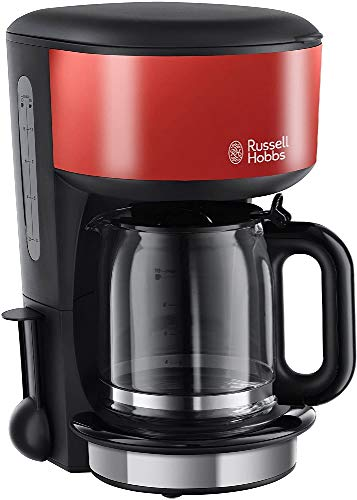 Russell Hobbs Cafetière Colours rouge flamboyant - Technologie de douchette avancée, 1,25 L, montée en température rapide, 1 000 W, stop goutte, porte filtre amovible, 20131-56