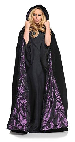 "Underwraps Adult Women's 63"" Deluxe Velvet Satin Cloak Cape, Black/Purple"