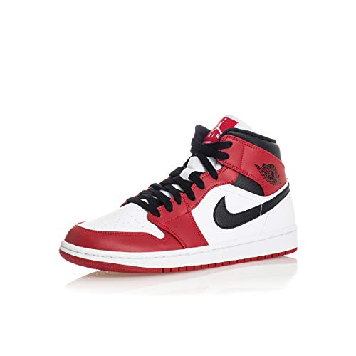 Nike Air Jordan 1 Mid (GS), Zapatillas de básquetbol, White Gym Red Black, 39 EU