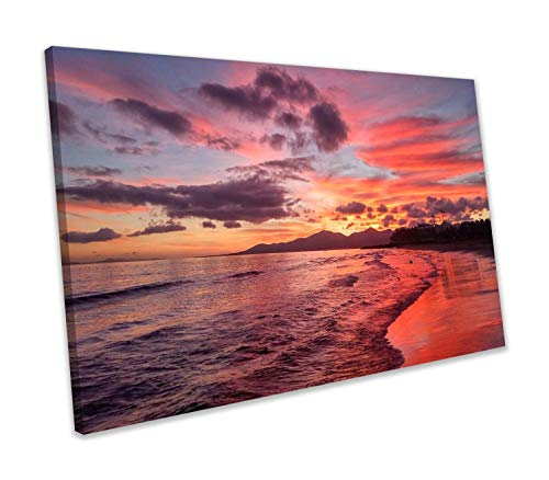 Scott397House Unframe Canvas Printing Wall Art 8x12 Bright Sunset Beach In Puerto del Carman On Lanzarote Canvas Print Seascape Framed Wall Art Picture Wall Decoration for Living Room/Bed Room