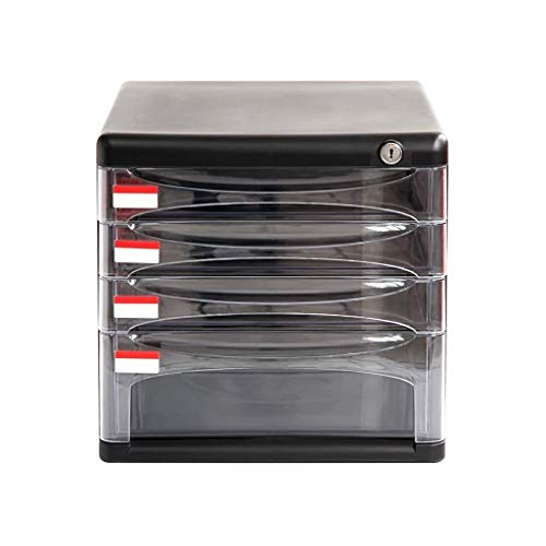 HYY-YY Drawer Sorters Document Storage Cabinet, Desktop Extension Drawer Lockable Office Organizer 27 * 36 * 26CM (color : Black)