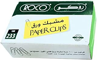 Roco Plated Paper Clip 100-Pieces, 32 mm Length x 9 mm Width, Silver