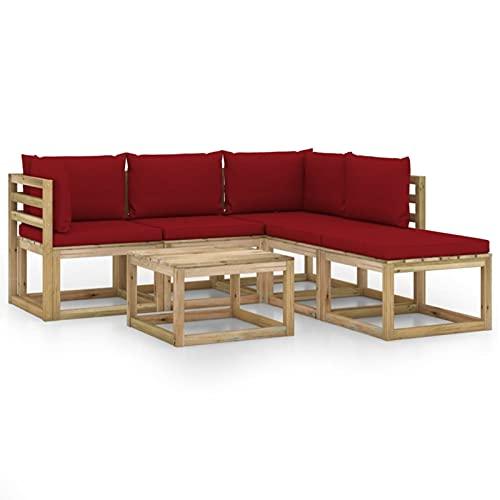 Tidyard Juego de Muebles jardín de 6 Piezas con Cojines Rojo Vino Tinto 15# | Muebles de Jardín Conjunto de Jardín Muebles Terraza Exterior Conjuntos Sofa Palets Exterior