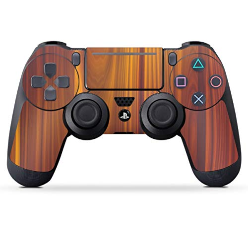 DeinDesign Skin kompatibel mit Sony Playstation 4 PS4 Slim Controller Folie Sticker Holzoptik Walnuss Holz
