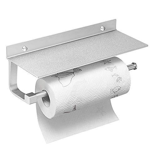 Handdoekhouder van papier, aan de muur gemonteerd, voor keuken, badkamer, stoffen roller, met mobiele telefoon, van aluminium, voor het opbergen, 1 paar, Space aluminum