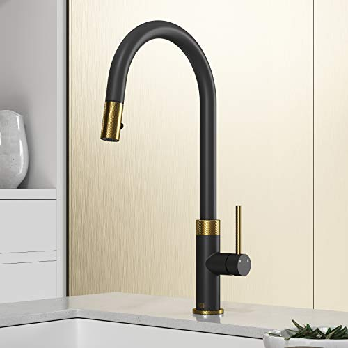 VIGO VG02033MGMB 19' H Bristol Single Handle with Pull-Down Kitchen Faucet in Matte Brushed Gold and...