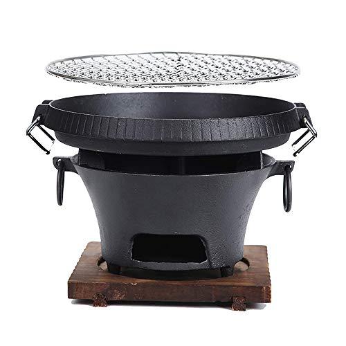 Parrilla de hierro fundido, tela de carbón de leña en casa, parrilla para cocinar para acampar portátil, parrilla de barbacoa con malla de alambre, tajos de madera, base de madera