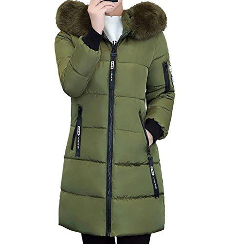 FAMILIZO Chaquetas De Pluma Mujer, Largo Abrigos de Plumas Mujer con Capucha Casual Espesar Cálido Invierno Chaquetas Women Down Jacket (2XL, Ejercito Verde)