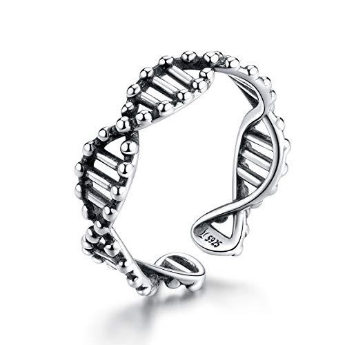 Diseño 925 plata esterlina ADN abierto ajustable anillos de dedo para las...