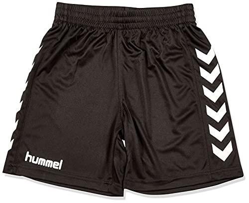 hummel Jungen Sporthose Kurz-Core Poly Shorts-Trainingshose Herren Hohe Bewegungsfreiheit-Laufshorts, Black Pr, 140-152 (L)