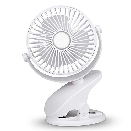 Mieuxbuck Clip on fan, Stroller Fan for Baby, Mini USB Portable Fan for Bed, Camping, Travelling with Rechargeable 2500mA Battery 360° Rotation, White