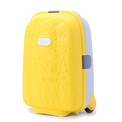 QWERASD Children's Travel Trolley Luggage Suitcase Bag Small Travel Bag Sports Bag Wavy Grip Lever Silent Directional Wheel Pink, Blue, Yellow,Yellow